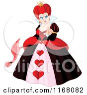 Cartoon Of An Ugly Queen Of Hearts Holding A Flamingo And Pointing Royalty Free Vector Clipart