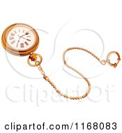 Cartoon Of A Golden Pocket Watch And Chain Royalty Free Vector Clipart