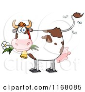 Cartoon Of A Stinky Cow With Flies Royalty Free Vector Clipart by Hit Toon