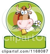 Cow Eating A Daisy Flower Over A Green Banner
