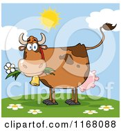 Brown Cow Eating A Daisy Flower On A Hill