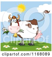 Cow Eating A Daisy Flower On A Hill