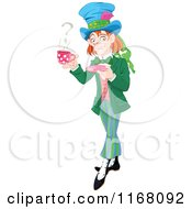 Cartoon Of The Mad Hatter Holding A Cup Of Tea With A Question Mark In Steam Royalty Free Vector Clipart