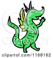 Cartoon Of A Green Dragon Royalty Free Vector Illustration