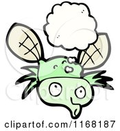 Cartoon Of A Thinking Fly Royalty Free Vector Illustration by lineartestpilot