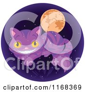 Cartoon Of A Grinning Cheshire Cat Over Branches A Full Moon And Stars In A Circle Royalty Free Vector Clipart by Pushkin