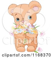 Cartoon Of A Cute And Sweet Teddy Bear Holding Spring Flowers Royalty Free Vector Clipart
