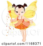 Cartoon Of A Cute Asian Fairy Girl With A Magic Wand Royalty Free Vector Clipart