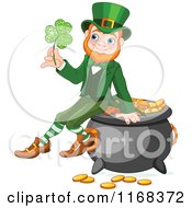 Cartoon Of A Happy Leprechaun Sitting On A Pot Of Gold And Holding A Lucky Clover Royalty Free Vector Clipart