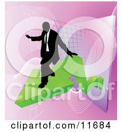 Successful Businessman Riding On A Green Arrow As Revenue Increases Clipart Illustration