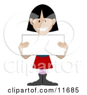 Friendly Girl Holding A Blank Placard Sign Clipart Illustration