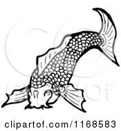 Cartoon Of A Black And White Koi Fish Royalty Free Vector Illustration