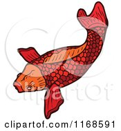 Cartoon Of A Red Koi Fish Royalty Free Vector Illustration