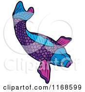 Cartoon Of A Purple Koi Fish Royalty Free Vector Illustration
