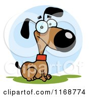 Cartoon Of A Cute Alert Brown Dog Sitting Against A Blue Circle Royalty Free Vector Clipart