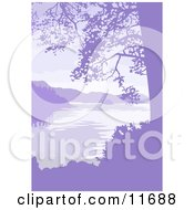 Lake Mountains And Trees In Purple Tones Clipart Illustration