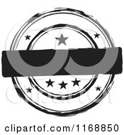 Clipart Of A Black And White Circular Ink Stamp Label With Stars And Copyspace Royalty Free Vector Illustration