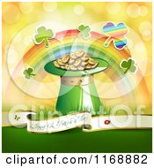Clipart Of A Happy St Patricks Day Greeting Background With Shamrocks A Rainbow And A Hat Of Leprechauns Gold Royalty Free Vector Illustration