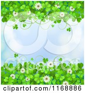 Clipart Of A Green St Patricks Day Background With Shamrock Clovers And Flowers Over Flares On Blue Royalty Free Vector Illustration
