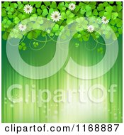 Clipart Of A Green St Patricks Day Background With Shamrock Clovers And Flowers Over Lights Royalty Free Vector Illustration