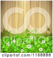 Clipart Of A Green St Patricks Day Background With Shamrock Clovers And Flowers Over Wood Royalty Free Vector Illustration