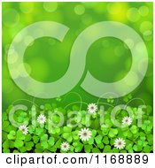 Clipart Of A Green St Patricks Day Background With Shamrock Clovers And Flowers Over Flares 2 Royalty Free Vector Illustration by merlinul