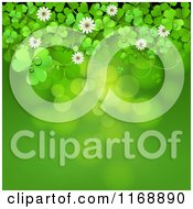 Clipart Of A Green St Patricks Day Background With Shamrock Clovers And Flowers Over Flares Royalty Free Vector Illustration
