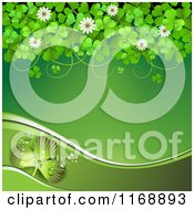 Clipart Of A Green St Patricks Day Background With Shamrock Clovers And Flowers 2 Royalty Free Vector Illustration