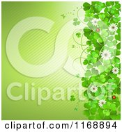 Clipart Of A Green St Patricks Day Background With Shamrock Clovers And Flowers Over Diagonal Stripes Royalty Free Vector Illustration