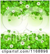 Clipart Of A Green St Patricks Day Background With Shamrock Clovers And Flowers Royalty Free Vector Illustration