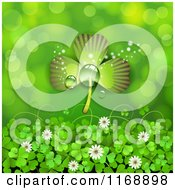 Clipart Of A St Patricks Day Shamrock Over Clovers And Flowers On Green Royalty Free Vector Illustration