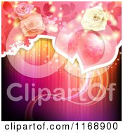 Clipart Of A Valentine Or Wedding Background Of Roses And Hearts Over Lights Royalty Free Vector Illustration