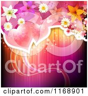 Clipart Of A Valentine Or Wedding Background Of Roses Flowers And Hearts Over Lights Royalty Free Vector Illustration