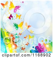 Clipart Of A Spring Time Rainbow Dew Butterfly Background Over Blue 2 Royalty Free Vector Illustration