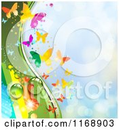 Clipart Of A Spring Time Rainbow Dew Butterfly Background Over Blue 3 Royalty Free Vector Illustration