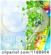 Spring Time Rainbow Dew Clover And Butterfly Background Over Blue