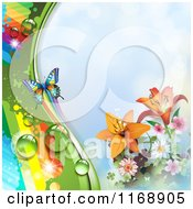 Spring Time Rainbow Dew Flower And Butterfly Background Over Blue