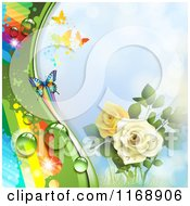 Spring Time Rainbow Dew Rose And Butterfly Background Over Blue