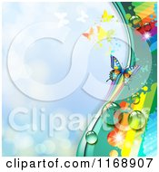 Spring Time Rainbow Dew Butterfly Background Over Blue