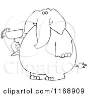 Black And White Elephant Holding A Margarita