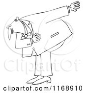 Cartoon Of An Outlined Formal Man Bowing Royalty Free Vector Clipart