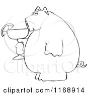 Black And White Pig Holding A Margarita