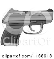 Cartoon Of A Semi Automatic Hand Gun Royalty Free Vector Clipart