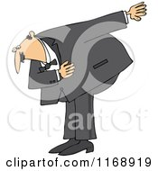 Cartoon Of A Formal Caucasian Man Bowing Royalty Free Vector Clipart