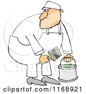 Cartoon Of A Caucasian Painter Man Holding A Bucket And Brush Royalty Free Vector Clipart by djart
