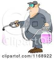 Cartoon Of A Caucasian Worker Man Spraying Chemical Pesticides Royalty Free Clipart