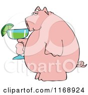 Pink Pig Holding A Margarita