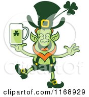Cartoon Of A St Patricks Day Leprechaun Holding A Green Beer Royalty Free Vector Clipart by Zooco