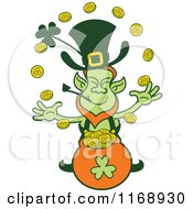 Cartoon Of A St Patricks Day Leprechaun Juggling Coins Over A Pot Royalty Free Vector Clipart