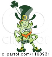 Cartoon Of An Angry St Patricks Day Leprechaun Royalty Free Vector Clipart